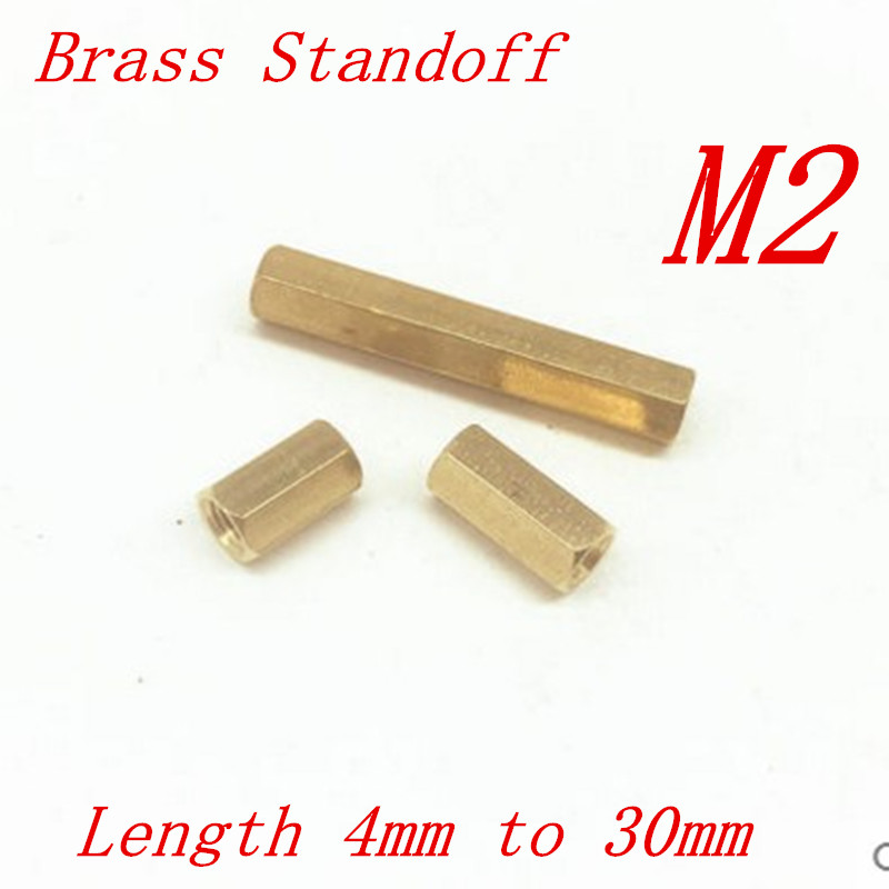 100pcs/lot M2*L 2mm Brass Standoff Spacer Female Female M2 Brass Threaded Spacer hex spacer length 4mm to 60mm 230pcs m2 5 2 5mm brass standoff spacer male x female with m2 5 6 pan head screws and m2 5 hex nut assortment kit