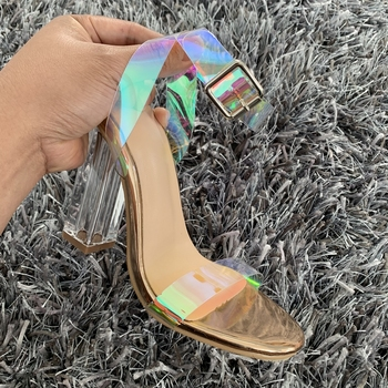 2019 Summer PVC Clear Transparent Strappy High Heels Shoes Women Sandals Peep Toe Sexy Party Female Ladies Shoes Woman Sandalias 1