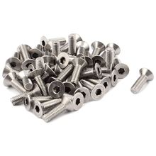 HHTL-45pcs M6x15mm Hex Driver Stainless Steel Countersunk Flat Head Bolts