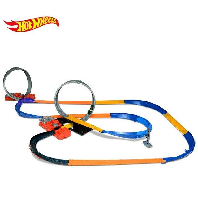 Hot wheels 10 en 1 juego de rieles de coche-brinquedos carros miniatura voiture y0267 de hotwheels kids toys para niños regalo de cumpleaños