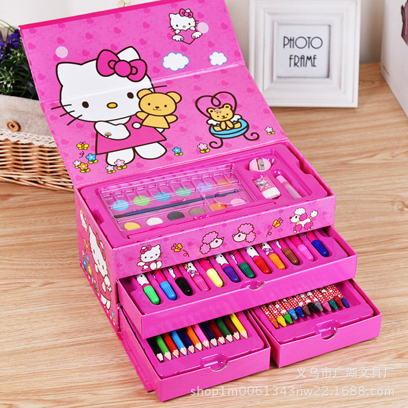 Pupils Watercolor Painting Suit Suitcase Combination Brush Pen Gift Stationery Crayons Brush Children 54 Color Suit Toolbox