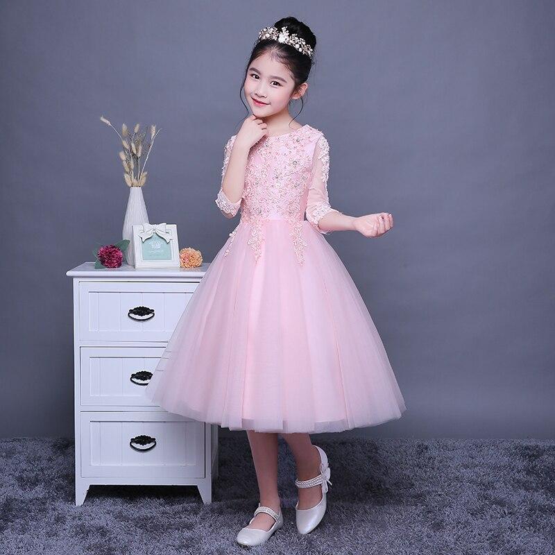 1-12 Y Ball Gown Flower Girl Dresses Wedding Half Sleeve Kids Pageant Dress Birthday Costume Girls Holy Communion Dress B72 b72