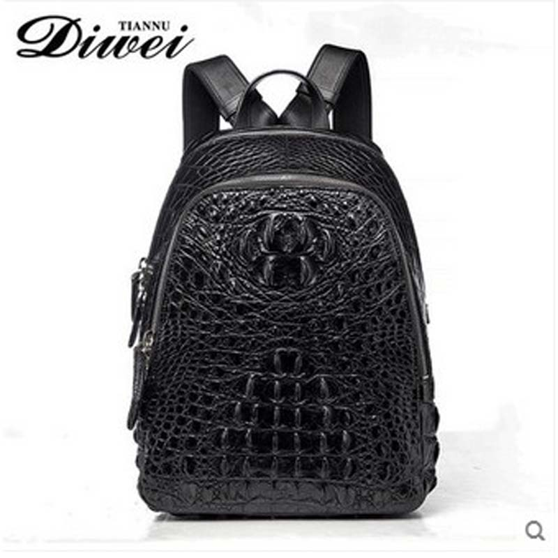 diwei 2018 new hot free shipping crocodile leather male bag leisure men women backpack  personality quality goods female bag