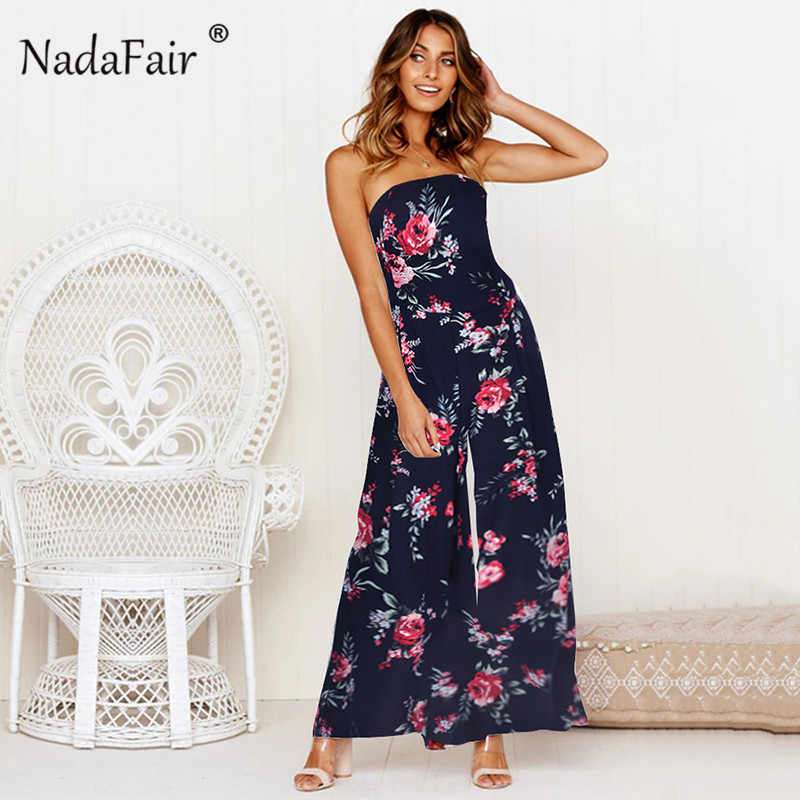 762e3013350 Nadafair boho summer floral print jumpsuits women 2019 backless bow lace up  sexy wide leg long