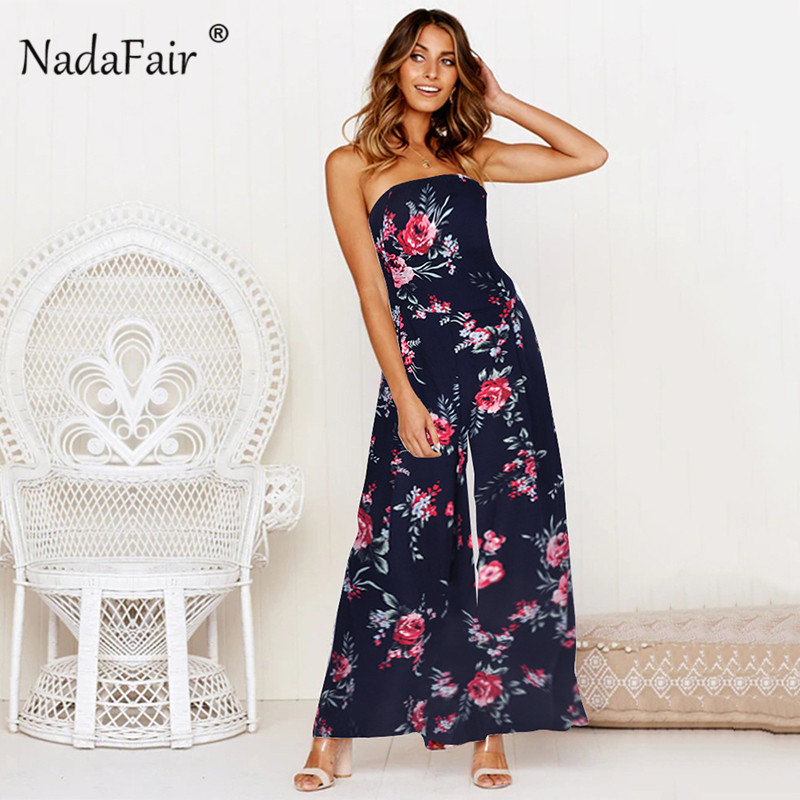Nadafair boho summer floral print   jumpsuits   women 2019 backless bow lace up sexy wide leg long pants   jumpsuits   women rompers