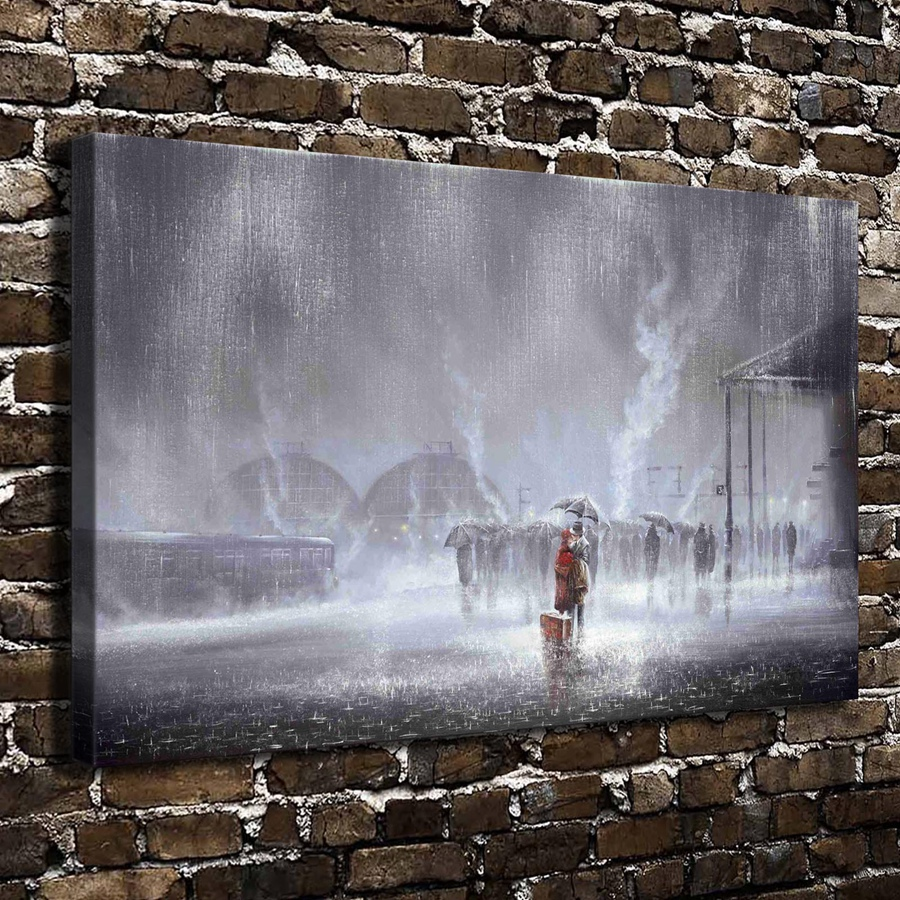 C_X393Lovers embraced kissed rain Railway station,HD Canvas Print Home decoration Art painting Living Room Bedroom Wall pictures