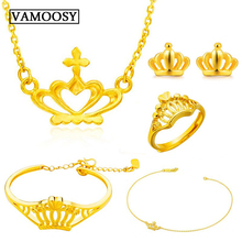hot deal buy fine wedding bride jewelry set 100% 24k gold crown ring bracelet necklace bracelet earrings jewelry sets for women 2018 romantic