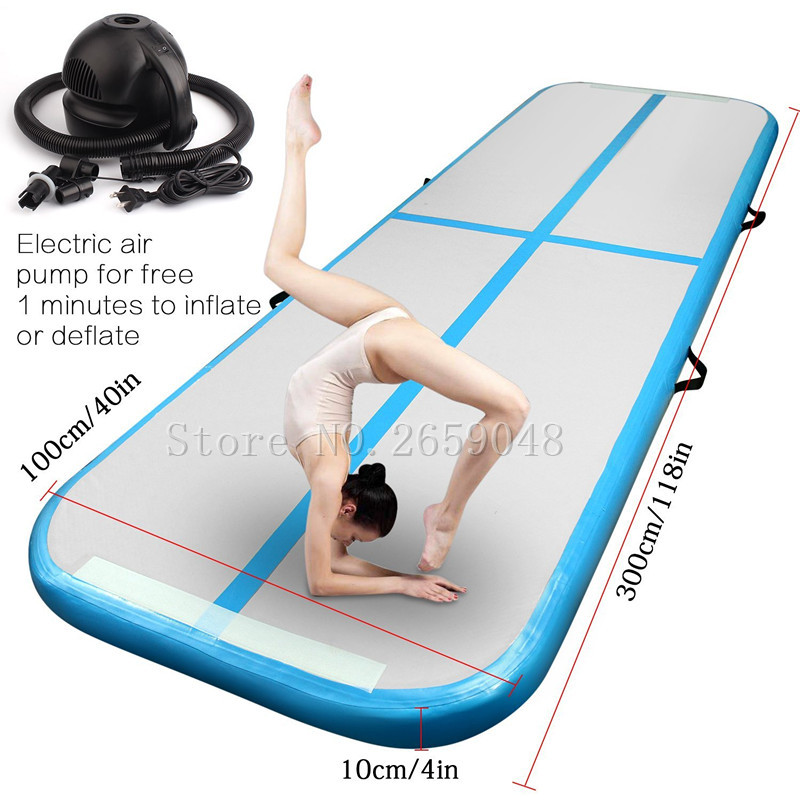 Air Tumbling Track Inflatable Gymnastics Mat 3m x 1m x 0.1m For Cheerleading, Gymnastics Training, Beach, on Water, Home use free shipping 6x1x0 2m cheap inflatable gymnastics tumbling mat air floor for home use beach park and water free one pump