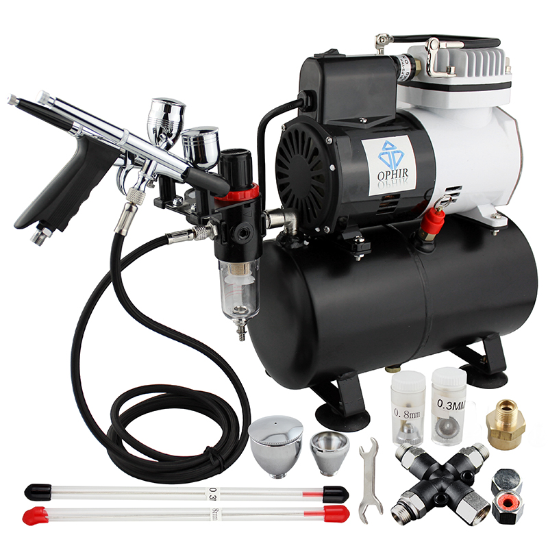 OPHIR Airbrush Kit Temporary Tattoo Air Compressor with Splitter  for Body Paint & Body Art_AC115+004A+069+038 ophir pro 2x dual action airbrush kit with air tank compressor for tanning body paint temporary tattoo spray gun  ac090 004a 074
