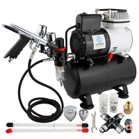 OPHIR Airbrush Kit Temporary Tattoo Air Compressor with Splitter for Body Paint & Body Art_AC115+004A+069+038