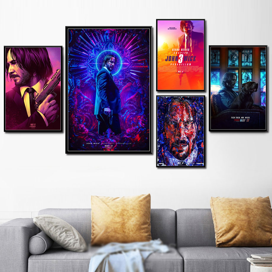P605 John Wick 3 Parabellum Hot Movie Series Art Painting Silk Canvas  Poster Wall Home Decor