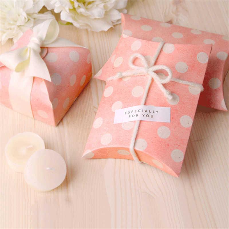 50 шт. Ретро Европейский в розовый горошек коробочка для конфет, в форме подушечки бумажная упаковка рождественского подарка сумка Свадебные сувениры дети Душ день рождения новый год