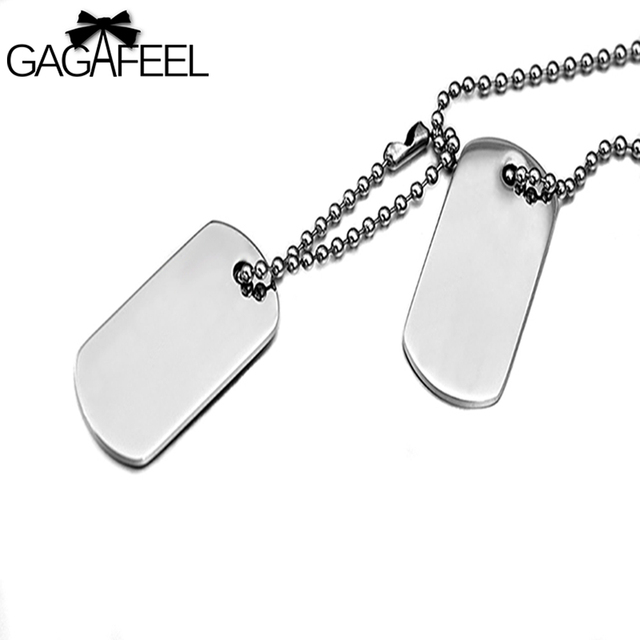 482502682c GAGAFFEL Custom Engraved Necklace Stainless Steel Dog Tag Necklace Army  Military Card Pendant Necklaces Silver Love