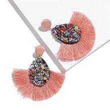 Hot Ethnic Earrings Crystal Geometric Bohemia Drop Earrings Biscuits Round Resin Tassel Earrings for Women Harajuke Earring resin tassel geometric drop earrings