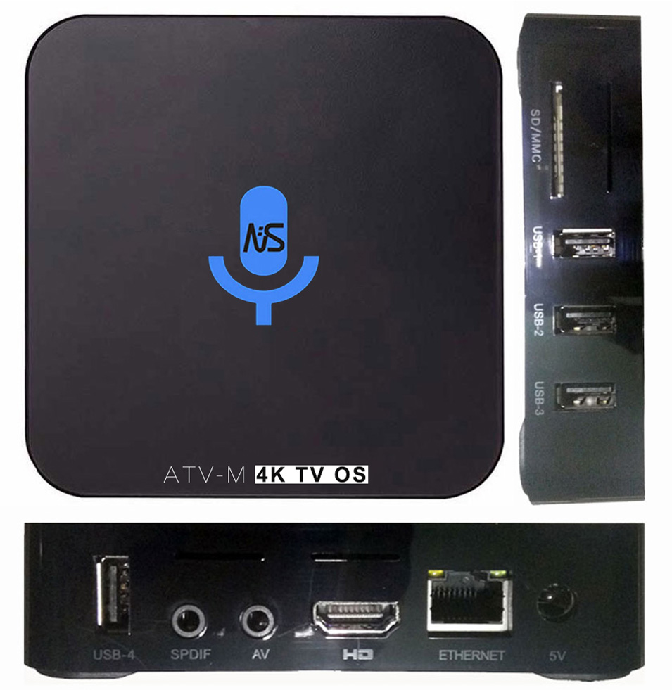 3pcs ATV-M S905X 4K Voice Control Smart Android TV OS box Streaming Box Support Google Play Youtube Netflix