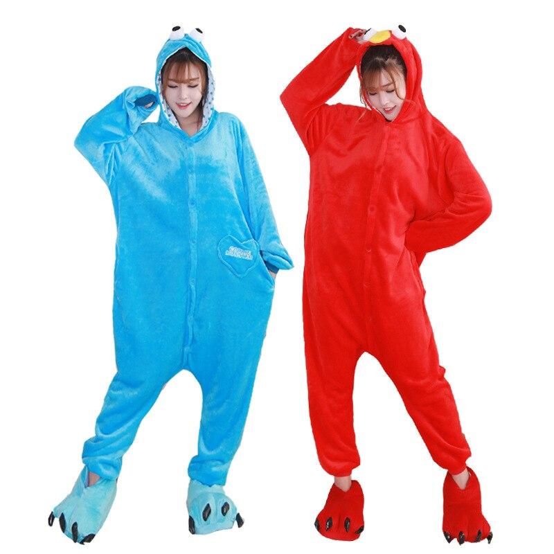 Cartoon Kigurumi Long Sleeve Hooded Animal cookie monster Onesie  Winter Cute Homewear kugurumi for adults a-line