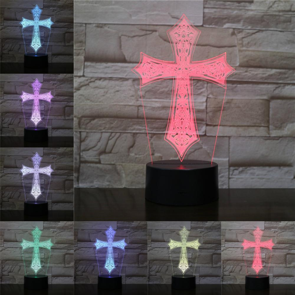 LED USB Christian Cross 3D Night Lamp Christmas Gifts Home Party Docor Atmosphere Acrylic Plate Lighting Multicolor Lustre