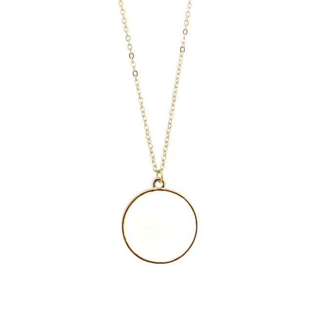 2016 New Personalized Monogram Enamel Blank Disk Disc Necklace Gold Fashion Women Medal Necklace Jewelry Wholesale