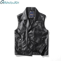 Grandwish PU Leather Vest Men Motorcycle Turn Down Collar Faux Leather Vest Mens Hip Pop Sleeveless