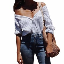 Spring Loose Striped Women's Blouse 2018 Casual Sexy Hit Color Button Long Sleeve Off Shoulder Strapless Shirt
