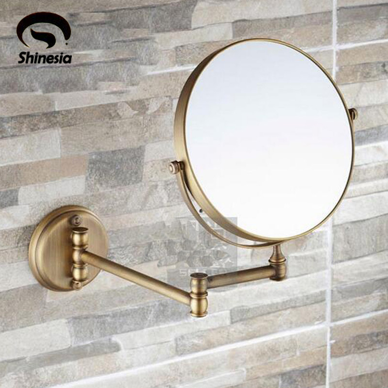 3x to 1x Magnifying Bathroom Antique Brass Make-up Mirror Hairdressing Magnifer Cosmetic Mirror brass 3x 1x led lighted vanity make up mirror double side 8 magnifying mirror