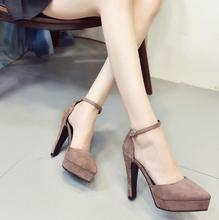 2018 Summer New word buckle high-heeled women's pointed thick heel women's shoelace hollow waterproof table