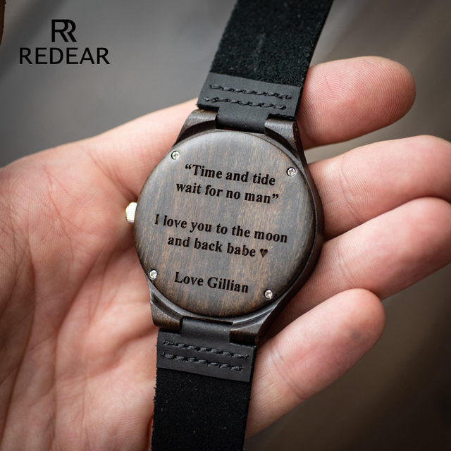 Engraved Wooden Watch for Men Boyfriend Or Groomsmen Gifts Black Sandalwood Customized Wood Watch Birthday Gift for Him  2