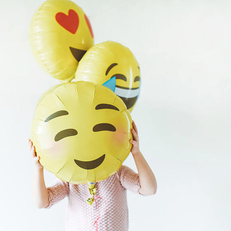 10Pcs 18inch Smiley Face Emoji Foil Balloons Expression Helium Balls Balloons Birthday Wedding Party Decoration Kids Toys PA26