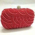 Free Shipping Women's Red Pearl Beaded Evening Bag Handmade Beaded Handbag Ladies White Pearl Beads Clutch Bag Shoulder Handbag
