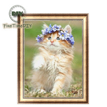 FineTime 5D Flower Cat DIY Animals Diamond Painting Partial Round Drill Diamond Embroidery Mosaic Cross Stitch finetime 5d christmas cat diy animals diamond painting partial round drill diamond embroidery mosaic cross stitch