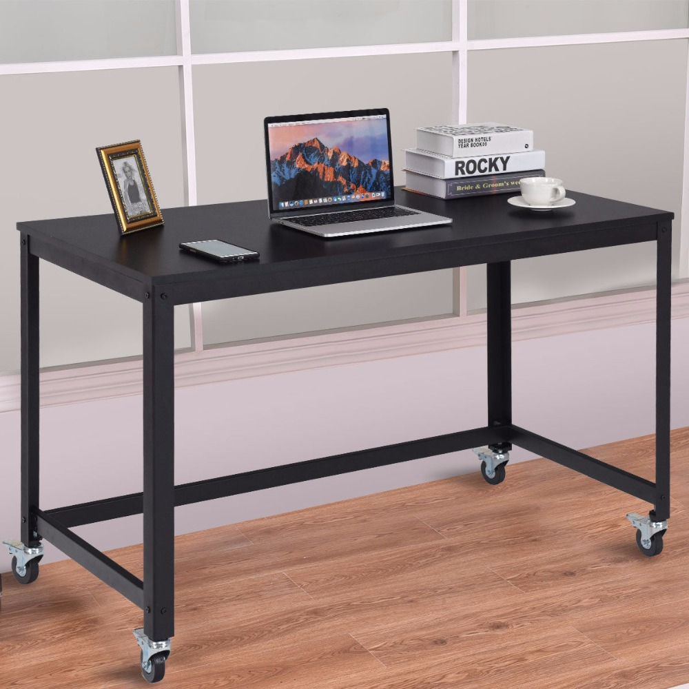 Giantex Rolling Computer Desk Wood Top Metal Frame Laptop Table Study Workstation Black Commercial Furniture HW54475BK