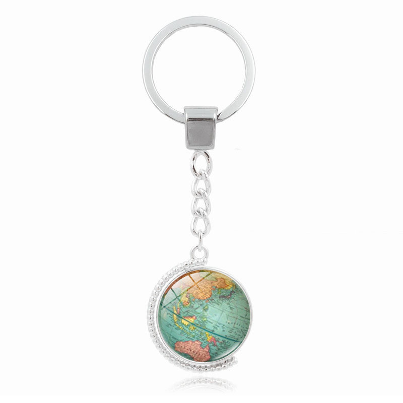 Retro Earth Keychain Double Sided Rotatable Globe World Map Art Key Ring Holder Jewelry For Men Women Gifts