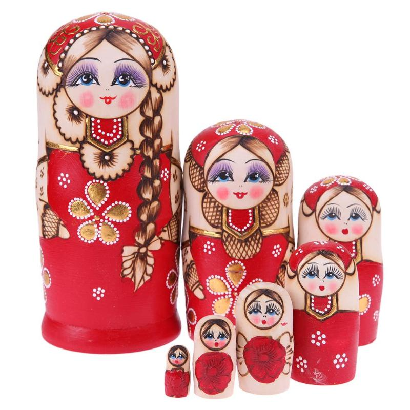7pcs Red Braid Russian Dolls Set Wooden Handmade Matryoshka Crafts Gifts