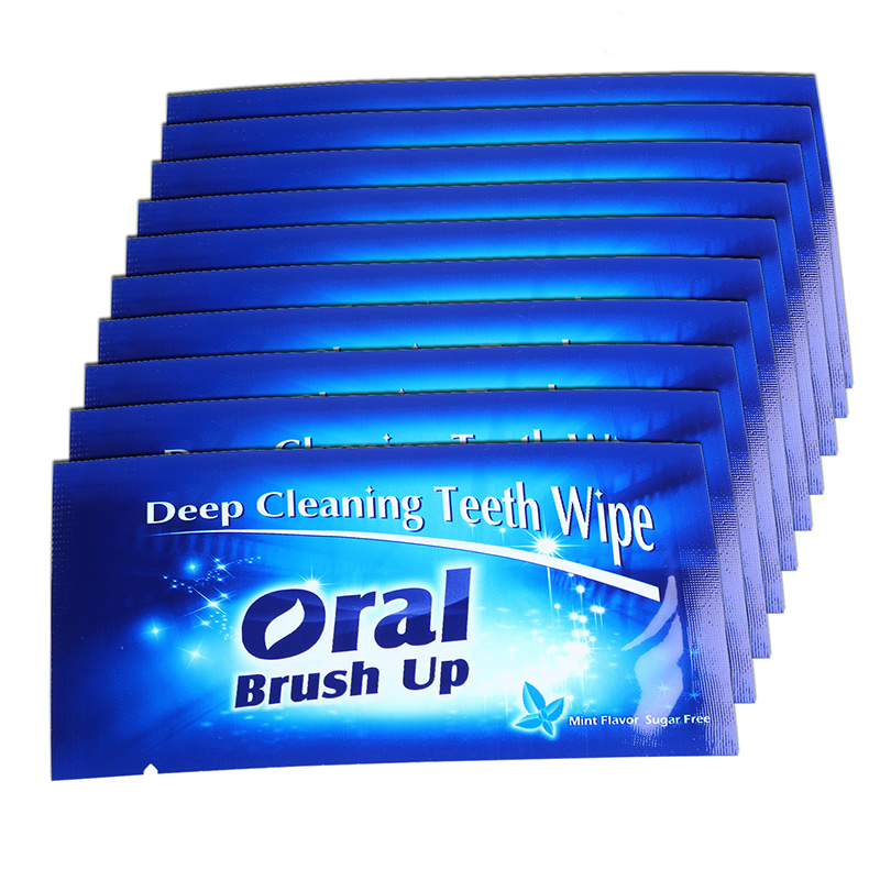 AZDENT 100 Pcs/Pack Professional Finger Brush Deep Cleaning Teeth Wipe Oral Brush Up Teeth Whitening Dental Wipes Oral Hygiene