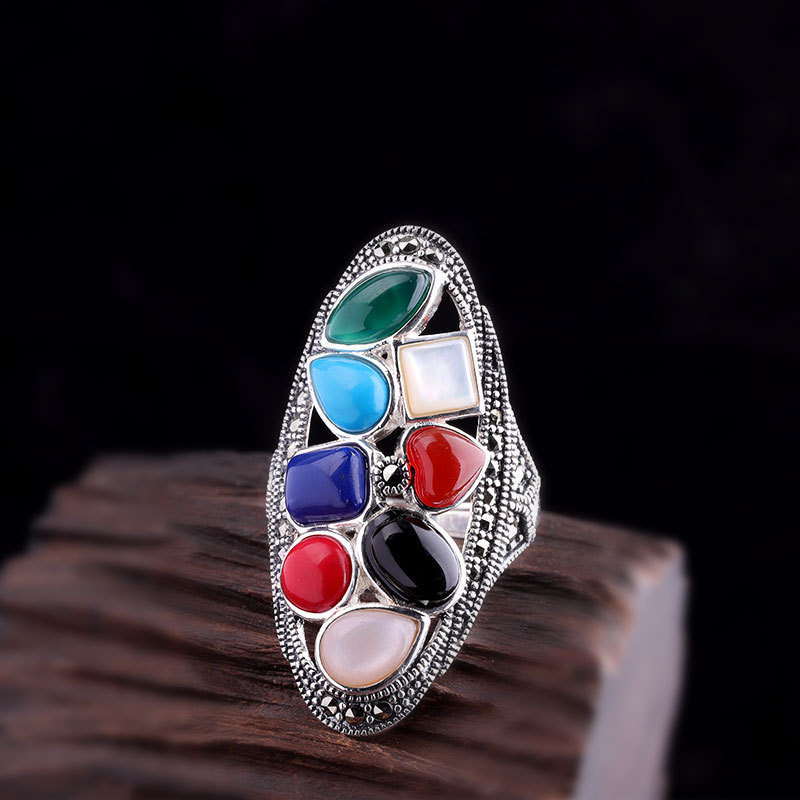Real Pure 925 Sterling Silver Ring For Women Vintage Jewelry Multi Natural Stone Adjustable Exaggerated Womens Large Rings