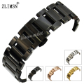 18 20 22mm Watch Strap Stainless Steel Watchbands Quartz Wrist Analog Luxury Rose Gold Black Bracelets Mens Replacement S17