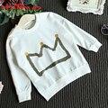 Chifave 2016 Nova Primavera Outono Crianças Meninos Roupas 3 Cores Bebê Meninos Camisola de Algodão Pullover Impressão Crown Crianças Meninos T-shirt