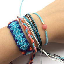 4pcs Bracelet Set Handmade Blue String Braided Weave Friendship Bracelets Bohemian Summer Beach Jewelry Rise Beads Tiny