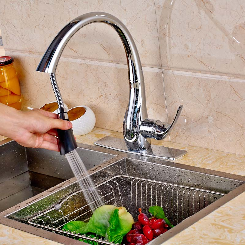 Chrome Swivel Spout Pull Down Kitchen Sink Faucet Hot and Cold Water Mixer Tap with Cover Plate led spout swivel spout kitchen faucet vessel sink mixer tap chrome finish solid brass free shipping hot sale