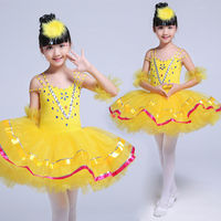 Paillette Girl Ballet Dance Uniforms Kids Ballet Tutu Dance Dress Competition Kids Performance Multicolor Ballet Dance