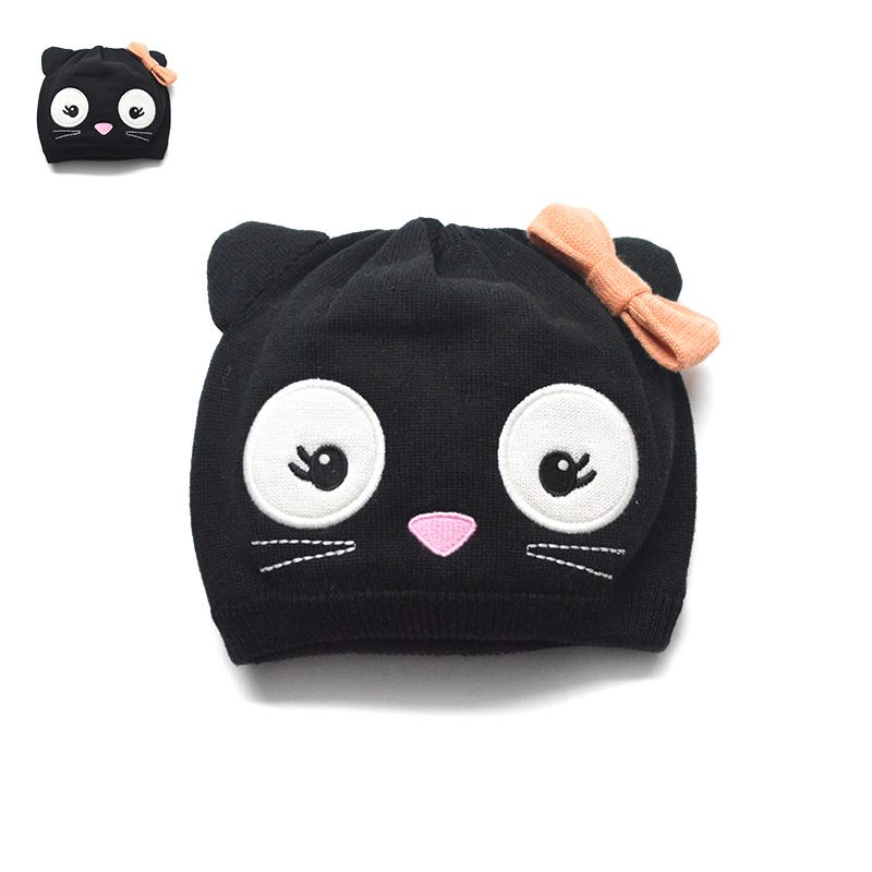 100% cotton cute cartoon cat baby hat beautiful embroidered crochet hat  kids winter hats baby comfortable girls hats boys-in Hats   Caps from  Mother   Kids ... 128e9f5240d
