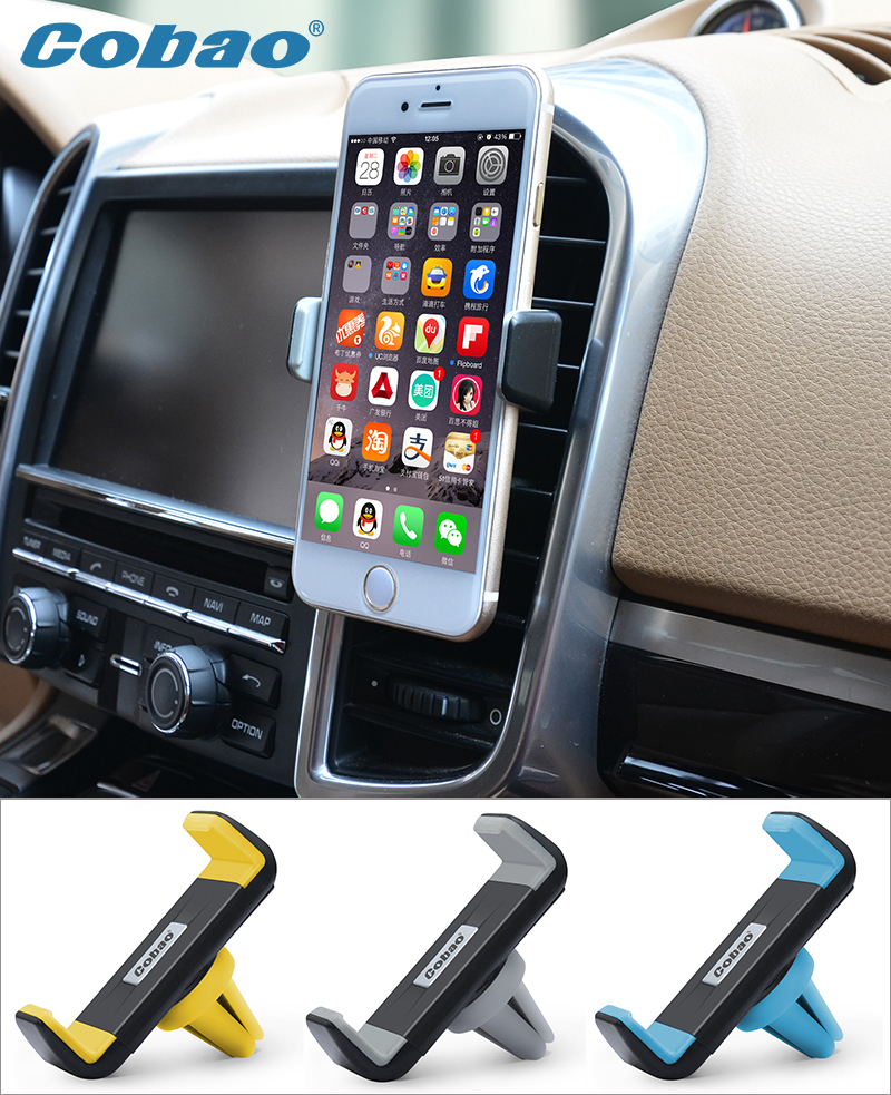 Universal car mobile phone holder stand air vent mount holder for Iphone 5 5s 6 6s plus Galaxy S5 S6 S7 Cobao brand 360 rotating