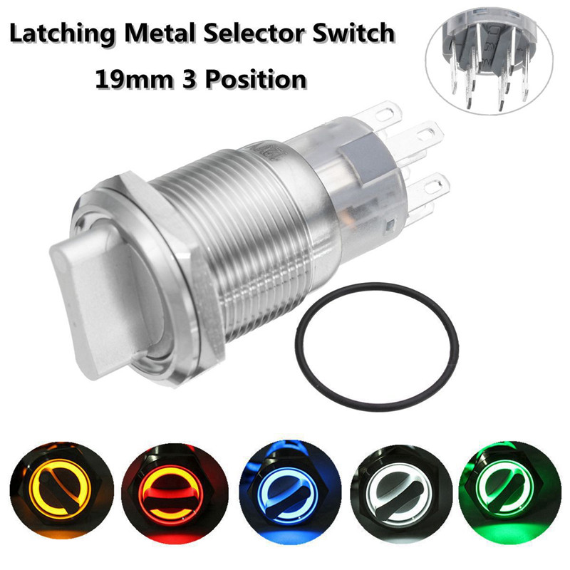 New 3 Position 19mm 12V Waterproof Stainless Steel Latching Metal Selector Switch Metal Rotary Push Knob Button LED 19mm metal waterproof brass key push button switch latching 2 position 1no 1nc press button 19ys 2d kb