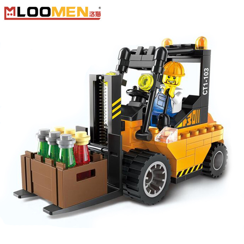 DIY 2017 lepine Transport Dumper Forklift Trucks Assembly Model  Building Blocks Kits toys for children super cool 115pcs set forklift trucks assembly building blocks kits children educational puzzle toys kids birthday gifts