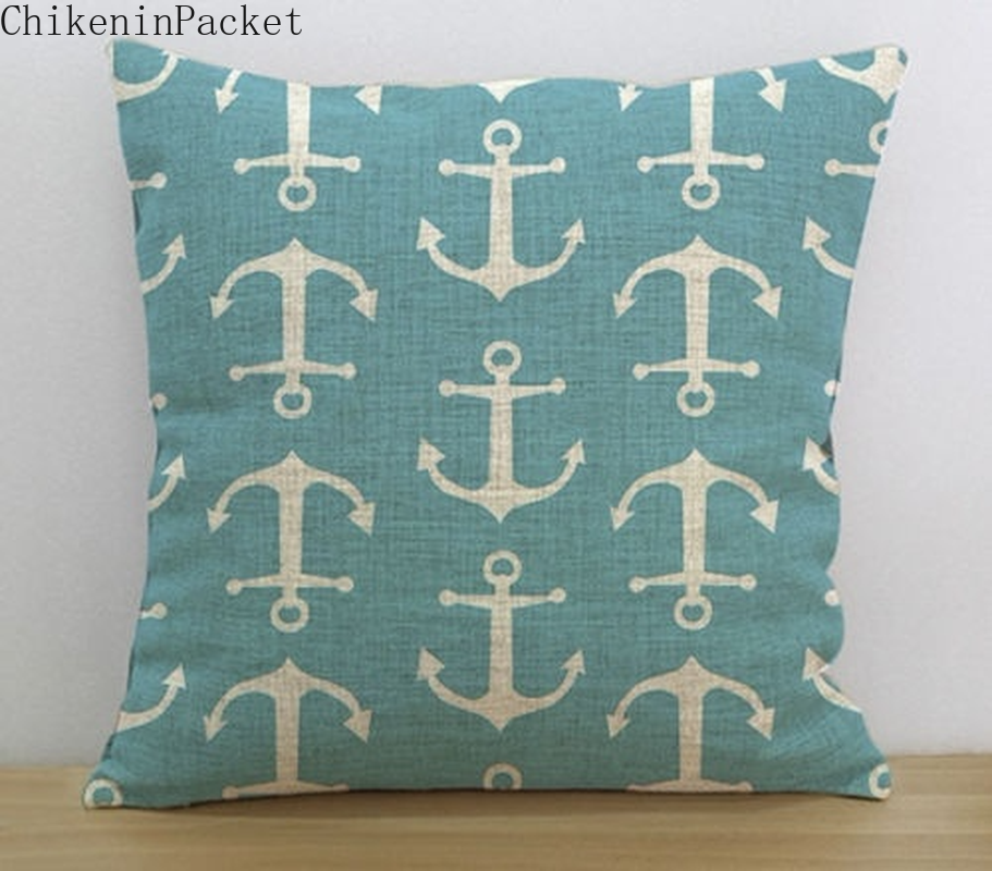 ChikeninPacket Nautical Throw Pillow Cover Turquoise Anchor Decorative Cushion Case Decor
