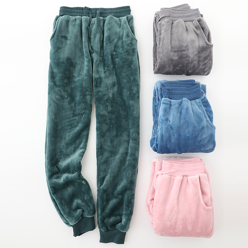 Autumn And Winter Flannel Lovers Pajamas Men And Women Thick Warm Large Size Coral Fleece Home Trousers Solid Long Sleep Pants