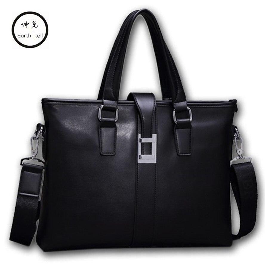 KUNDUI Autumn New Design Men's Briefcase Satchel Bags For Men Business Fashion Shoulder Messenger Travel Laptop PU Leather Bag