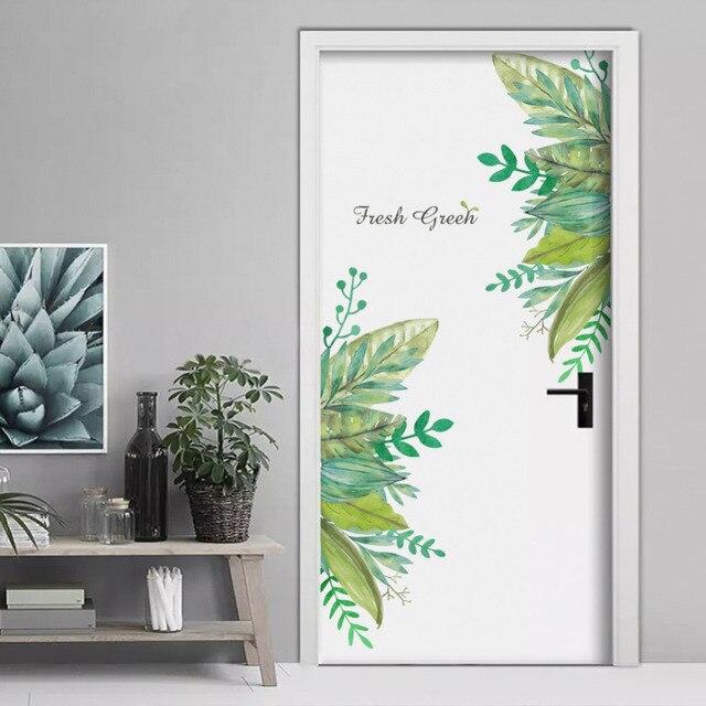 Green leaf phong cách sân vườn Cửa stickers trang trí nội thất phòng khách Ngủ sofa TV backdrop trang trí removable tường stickers
