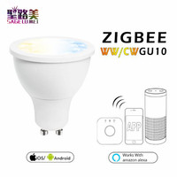Free shipping AC100 240V 5W GU10 Zigbee ww/cw LED spotlight ZLL smart phone APP controll cool white and warm white led bulb