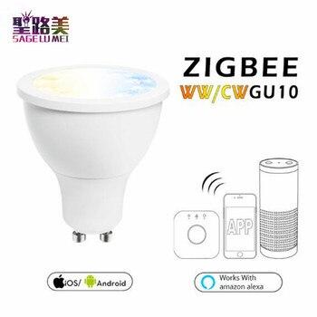Gratis Pengiriman AC100-240V 5 W GU10 ZigBee WW/CW LED Zll Aplikasi Ponsel Pintar Kontrol Keren Putih dan hangat Putih Lampu LED